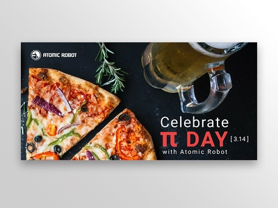 Pi's and Pints: Mobile Dev MeetUp Invitation social media atomic robot pizza beer pi invitation