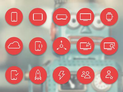 Atomic Robot Icon Set agency digital atomic robot design mobile development atomic robot icon set icon