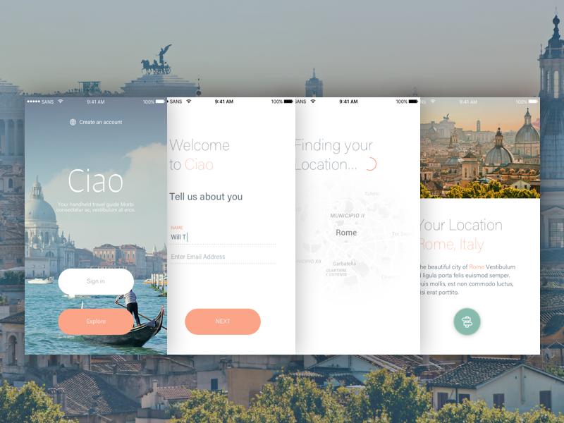 The Ciao UI Kit minimal mobile iphone design app ui kit ios ui flat clean freebie sketch