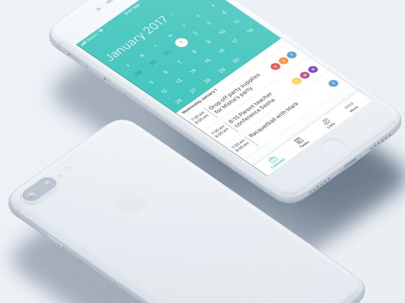 Calroo - Family Planner Redesign mobile ux ui tasks task management material design ios11 app ios family planner