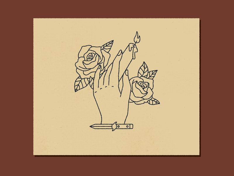Burn illustration grunge texture vintage tattoo candle knife roses hand