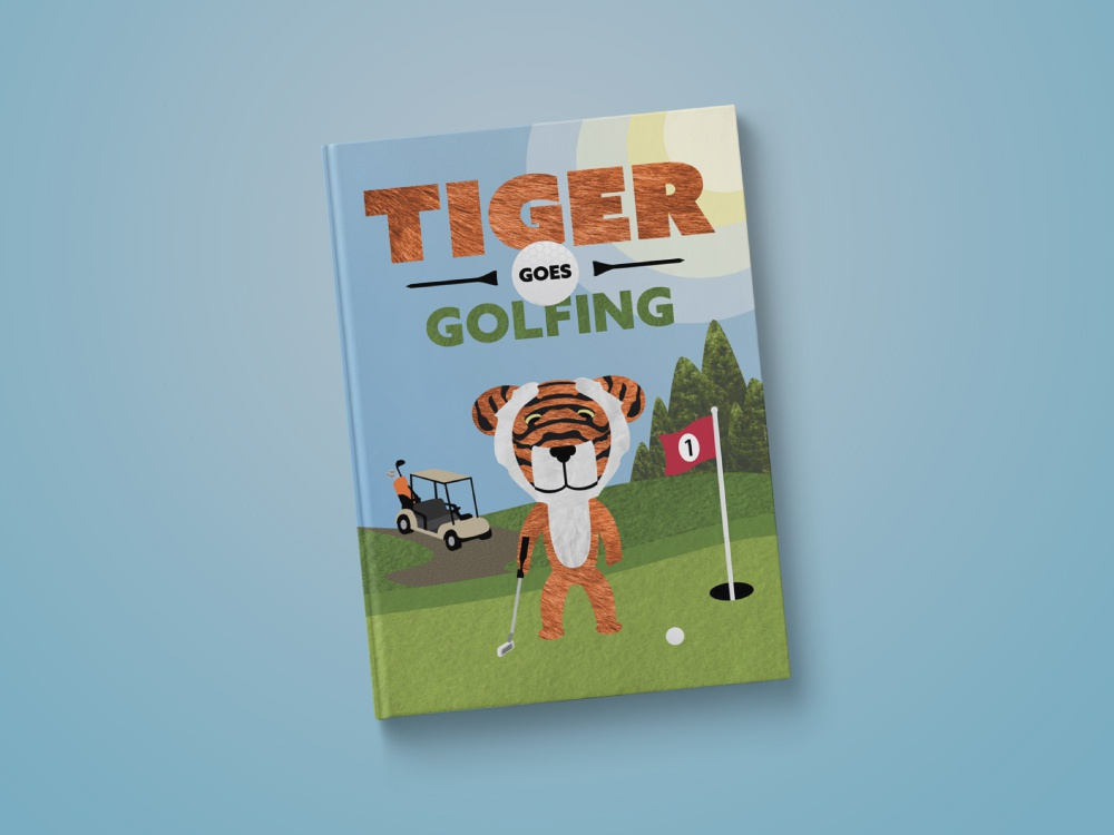 Tiger Goes Golfing - Book Cover book idea idea textures book golf illustration graphic design cover art cover kids book childrens book golfing goes tiger