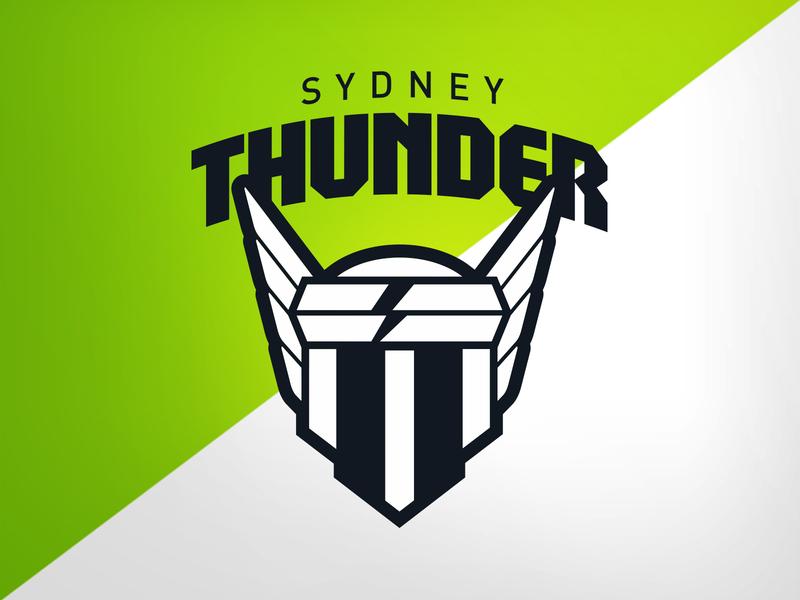 Sydney Thunder - Lock-up t s mjolnir thor cricket vector design illustration identity logo branding athletics