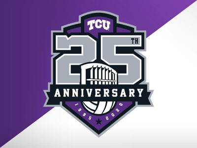 TCU Volleyball 25th Anniversary illustration ncaa identity logo branding crest badge college university 25th anniversary athletics vb volleyball tcu