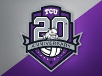 TCU Volleyball 20th Anniv. Logo