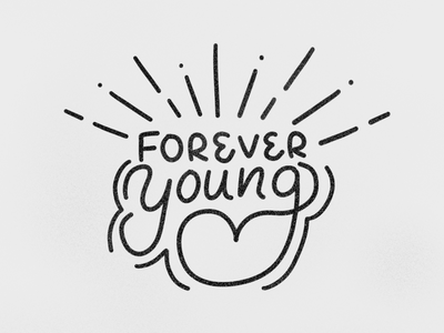 Forever Young illustration line art vector hand lettering typography lettering