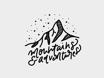 Mountains & Adventures vector design typography lettering line art graphic design