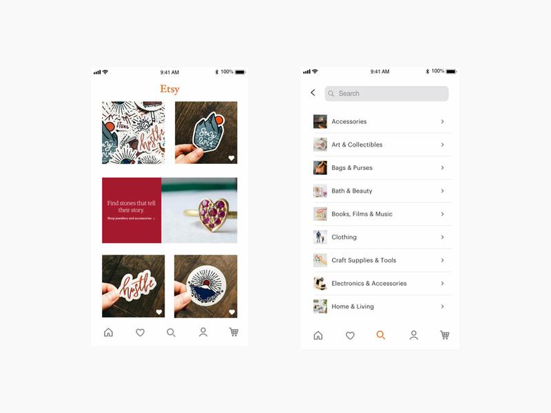 Redesigning the Etsy app app ux ui design ux designer ux  ui