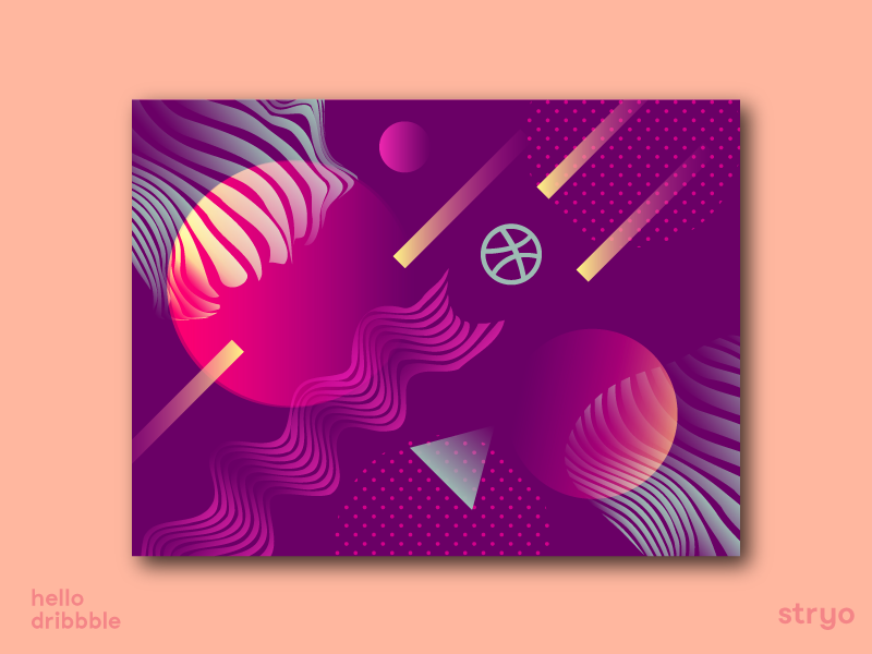 Hello Dribbble dribbble abstract art abstrack type animation typography branding ui lines vector illustration flat character design