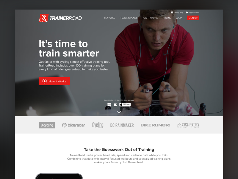 TrainerRoad Homepage Mockup Variation 2 by Adam Moore for
