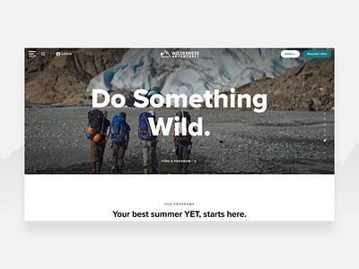 Wilderness Adventures - Fullscreen Takeover Menu outdoors hamburger menu travel website full screen menu wilderness travel