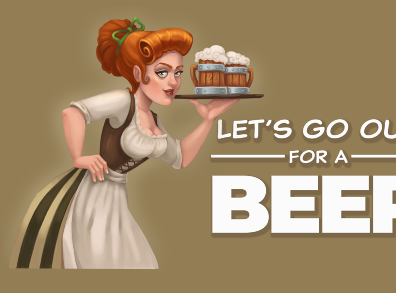 Lets go out for a beer ctaft medieval waitress illustration girl character design cartoon