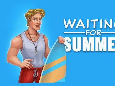 waiting for summer surfer sport summer surf mobile game cartoon character man