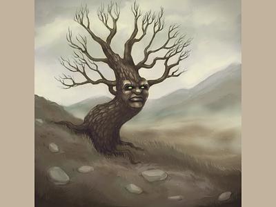 Old Oak tree ladscape forest fairy tale mountain digital art wood world environment tree