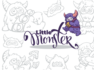 little monsters logo fairy tale mythology pagan beast little forest vector lettering creature character cartoon cute monster