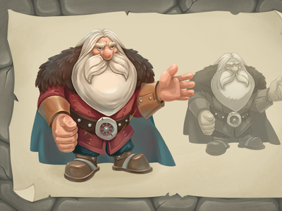 old dwarf master dwarf mobile game man illustration creature character fantasy cartoon