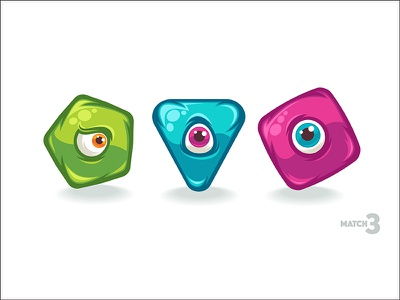 Match3 monster element cartoon abstract mobile game