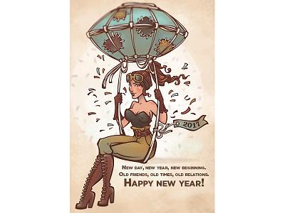 2017 Happy Life 2017 greeting balloon woman girl steampunk new year