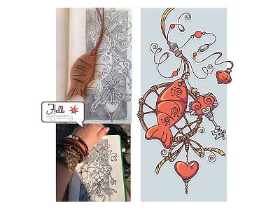 Summer Inspiration doodle dreamcatcher cord sketch drawing art naive fish amulet summer boho