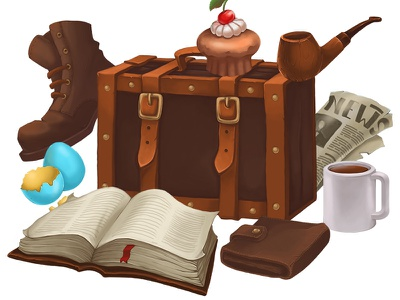 Retro hidden objects pipe cake cacao book newspaper boot case game objects hidden