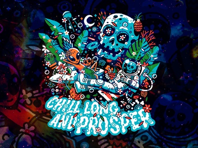 Chill Long and Prosper chillers pineapple skull branding design vector tvm heytvm illustration