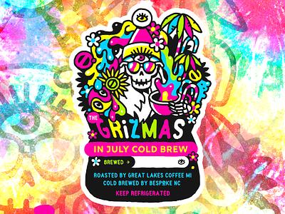 Grizmas In July psychedelic tiedye griz grizmas design vector trevor van meter tvm heytvm illustration