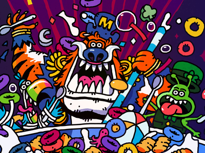 Toons & Spoons nc milk cereal drawing character illustration heytvm