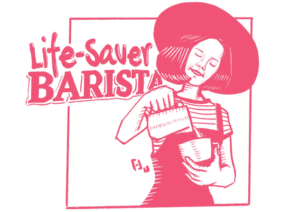 Life-Saver Barista drawing personal project coffee coffee shop illustration digital illustration procreate