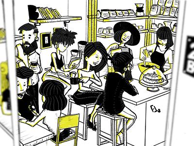 Dropin29 coffee shop drawing illustration procreate digital illustration