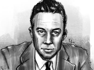 Albert Camus procreate illustration digital illustration portrait