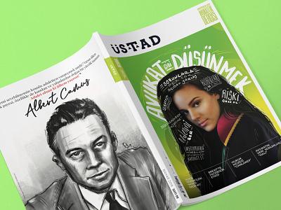 9th issue of Ustad Magazine lawyer law magazine cover cover design magazine design portrait procreate illustration digital illustration