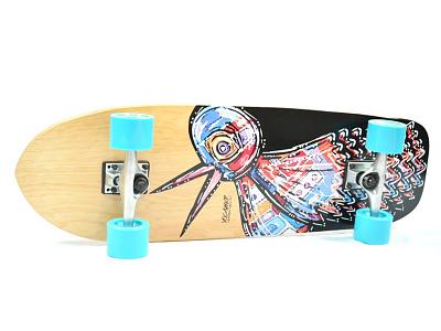 Bird Flipper skateboard graphic skate art illustration skateboard