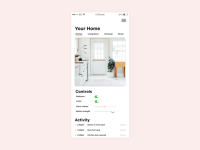 Home Sensor App Screen design app home safety home screen ux ui