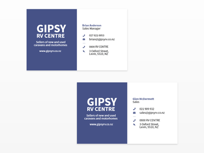 GIPSY RV Centre - Business Cards print typography business card