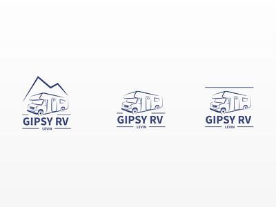 GIPSY RV Centre - Logo Iterations rv caravan blue illustration logo design