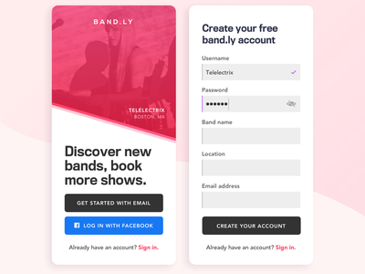 Band.ly Sign Up Flow entry flow splash screen mobile design dailyui 001 dailyui sign up ui design ui