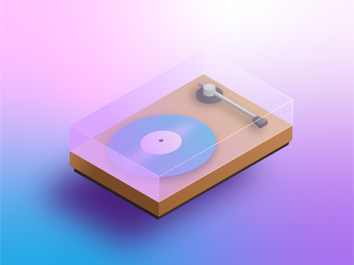 Let the Music Play 🎵 music icon illustration isometric illustration isometric gradient vintage vinyl record retro 80s synthwave isometric art record player