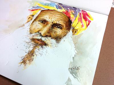Portrait  painting water color portrait colorful pencils old men sketch color pencils