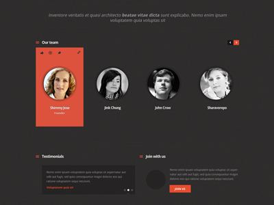Our Team  team our team corporate dribbble dark theme dark theme web design creative head shots members orange black