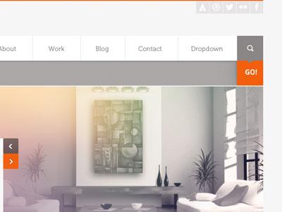 work in progress navigation menu drop down search search box orange hoem page template web site interface