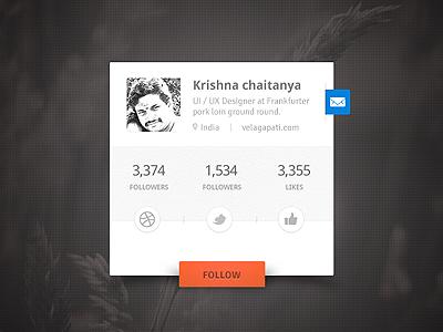 User Profile Social Widget user user profile profile clean widget dark minimal psd orange blue message follow social facebook dribbble twitter mail