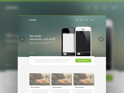 homepage design website minimal clean template theme design theme design apps creative iphone5 iphone mobile device portfolio full screen green grey