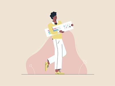 Developer flat design 2d illustrations photoshop illustrator ui walking character developer vector illustration