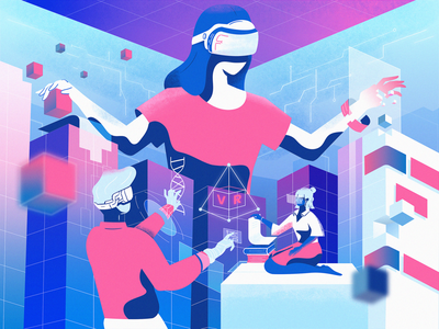 VR World Illustration augmented reality cover hero illustration hero section vector art cover art illustrations characters people virtual reality illustration