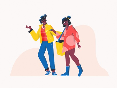 Let's go shopping couples woman man character couple illustrations flat design vector colors illustration
