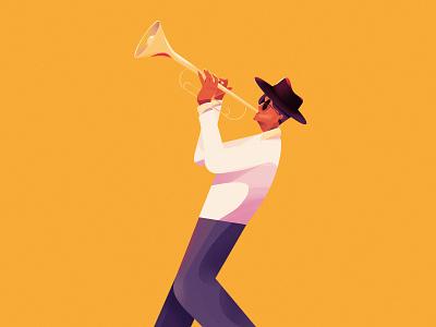 It's sort of like Jazz 2d lifestyle character brand illustrations branding illustrations jazz musician music flat design illustration