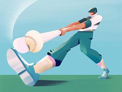 Home Run perspective procreate vector illustration vector baseball bat baseball illustrations illustration