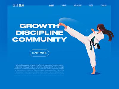 DOJO branding ui hero section character woman martial arts karate landing page website design hero illustration