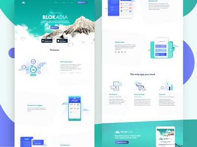 Blokadia Landing Page figma cryptocurrency crypto wallet landing page branding logo animation typography icons ux colors 2d ui illustration