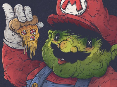 Super Fat Mario character design grotesque vector illustration
